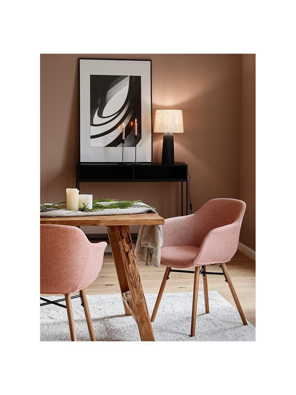 Krzesło z podłokietnikami z drewnianymi nogami Fiji, Tapicerka: poliester Dzięki tkaninie, Nogi: lite drewno dębowe, Blady różowy Nogi drewno dębowe, S 59 x G 55 cm