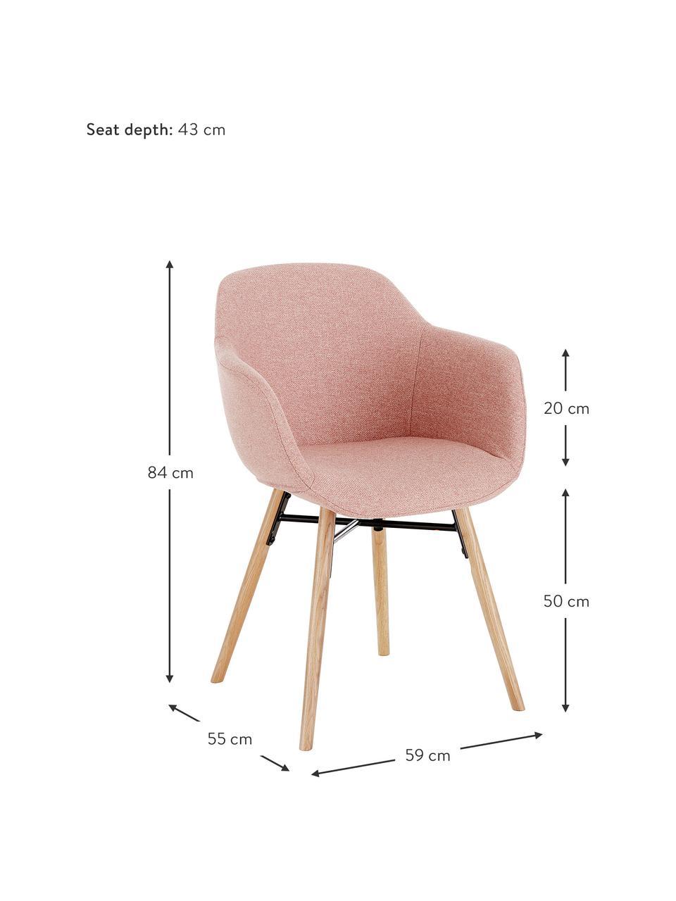 Sedia con braccioli con gambe in legno Fiji, Rivestimento: poliestere Con 40.000 cic, Gambe: legno di quercia massicci, Tessuto rosa, legno di quercia, Larg. 59 x Prof. 55 cm