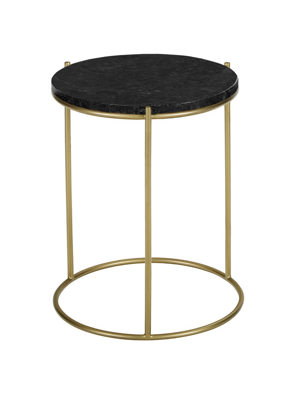 Okrągły stolik pomocniczy z marmuru Ella, Blat: marmur, Stelaż: metal malowany proszkowo, Blat: czarny marmur Stelaż: odcienie złotego, matowy, Ø 40 x W 50 cm