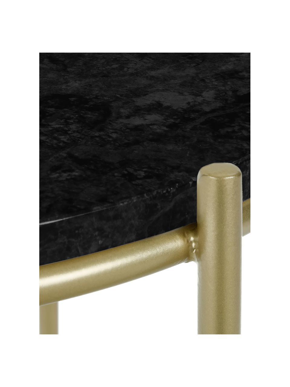 Tavolino rotondo in marmo Ella, Piano d'appoggio: marmo, Struttura: metallo verniciato a polv, Piano d'appoggio: marmo nero Struttura: dorato opaco, Ø 40 x Alt. 50 cm