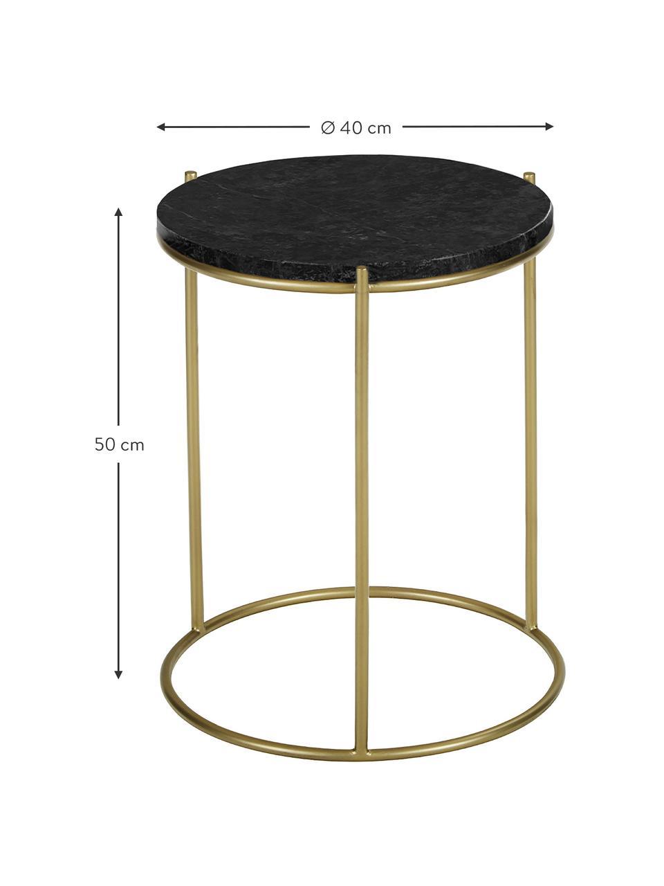 Runder Marmor-Beistelltisch Ella, Tischplatte: Marmor, Gestell: Metall, pulverbeschichtet, Schwarzer Marmor, Goldfarben, Ø 40 x H 50 cm