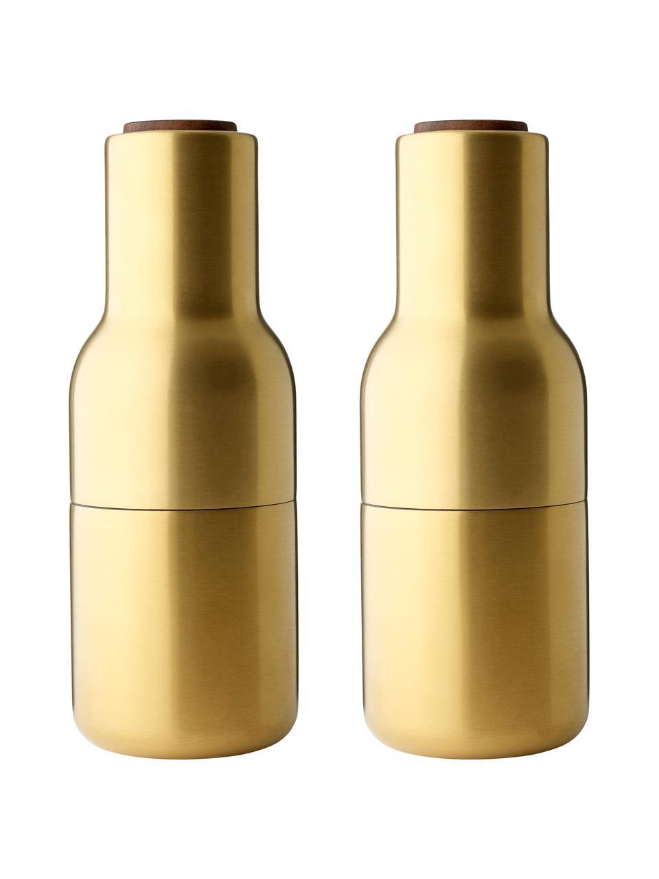 Macina sale e pepe di design dorati con coperchio in legno di noce Bottle Grinder, Coperchio: legno di noce, Ottonato, Ø 8 x Alt. 21 cm