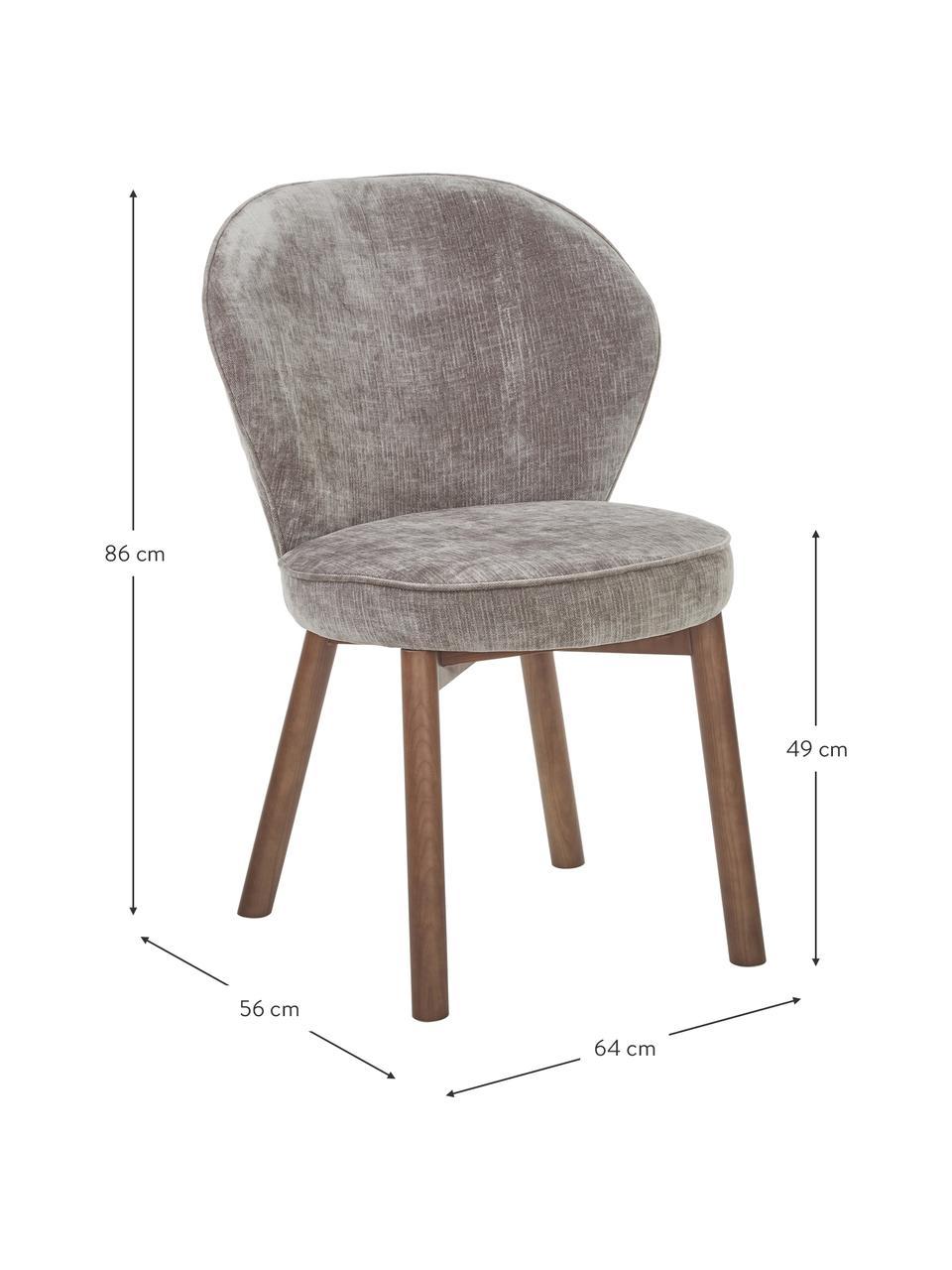 Sedia imbottita in tessuto grigio Serena, Rivestimento: ciniglia (92% poliestere,, Gambe: legno massiccio di frassi, Grigio, Larg. 56 x Prof. 64 cm