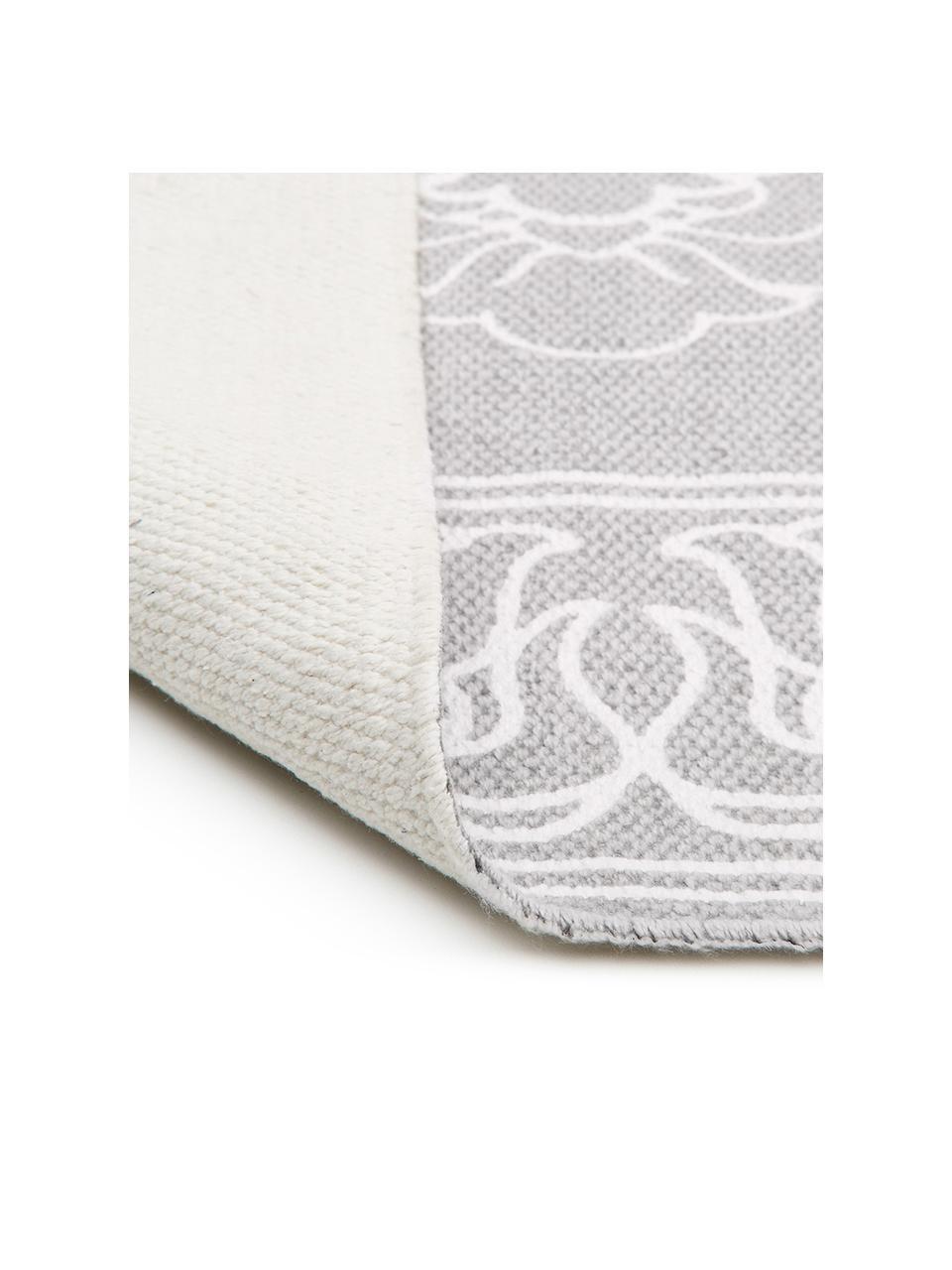 Gemusterter Baumwollteppich Salima mit Quasten, handgewebt, 100% Baumwolle, Hellgrau, Cremeweiß, B 200 x L 300 cm (Größe L)