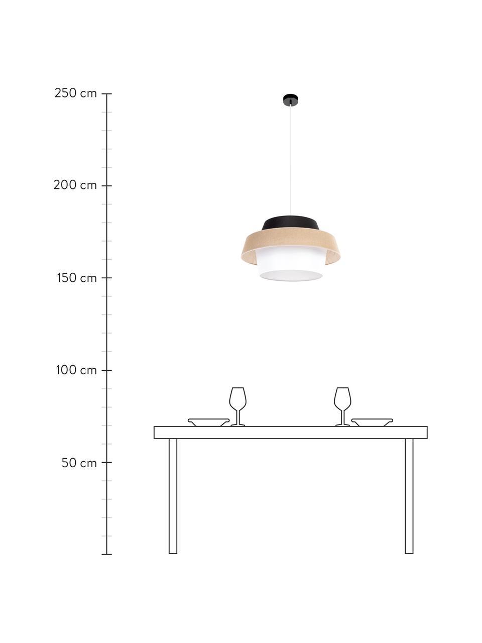 Lampa wisząca Preto, Czarny, beżowy, biały, Ø 55 x W 30 cm