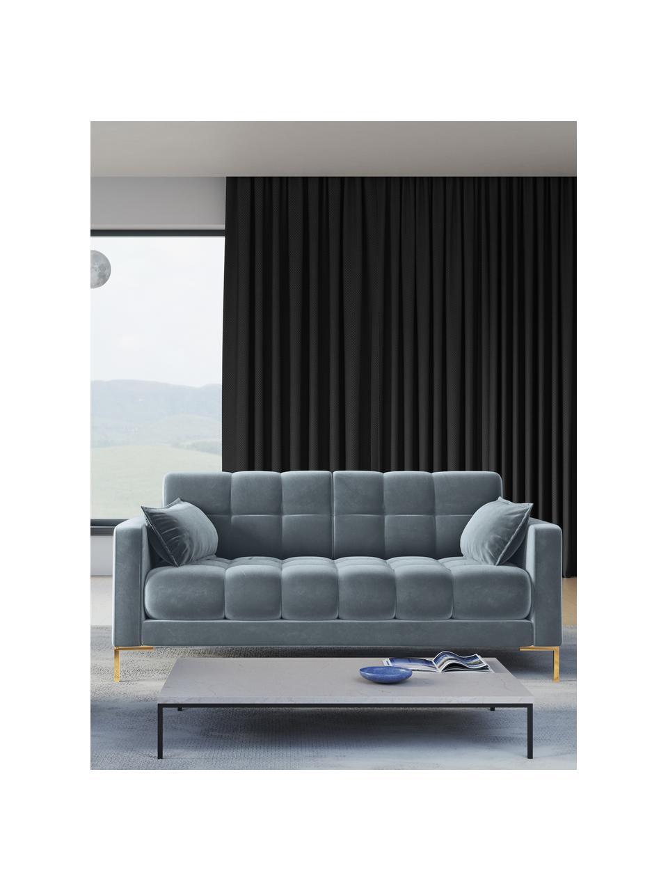 Sofa z aksamitu Mamaia (2-osobowa), Tapicerka: aksamit poliestrowy Dzięk, Stelaż: lite drewno sosnowe, skle, Nogi: metal lakierowany, Niebieski, S 177 x G 92 cm