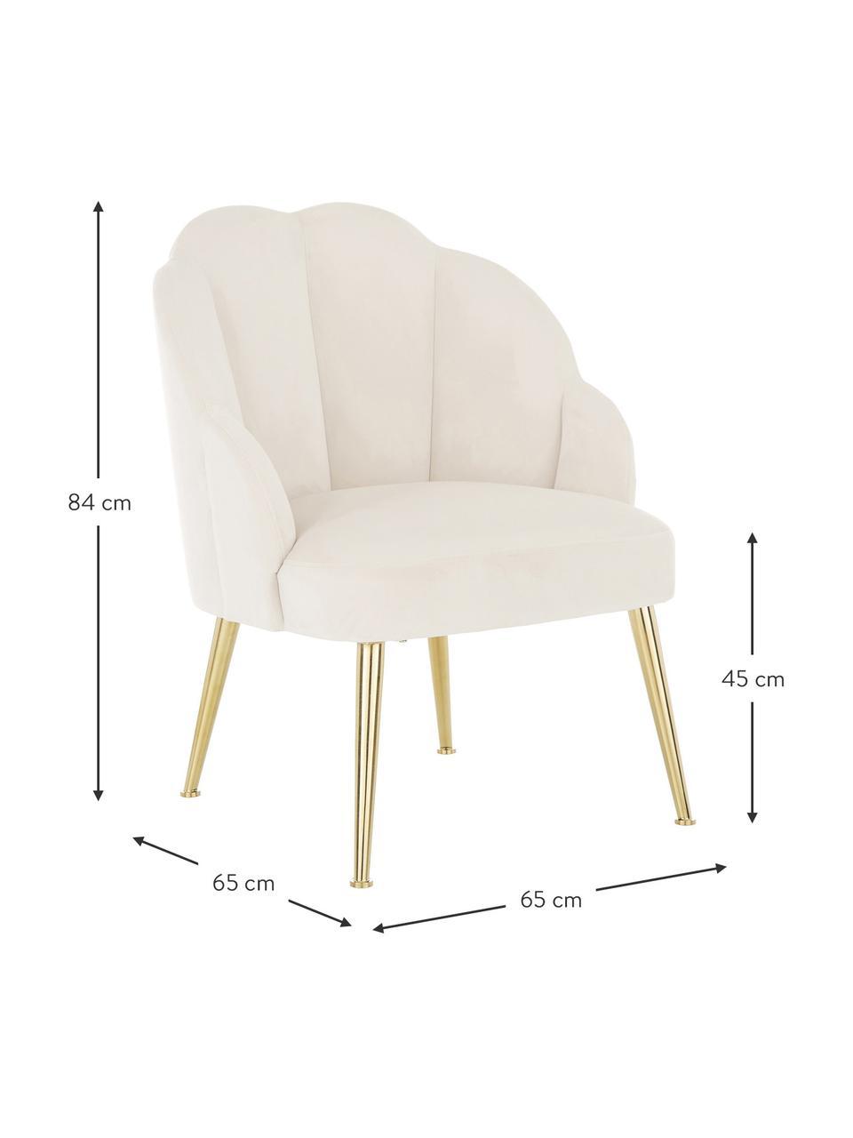 Fluwelen fauteuil Helle in crèmewit, Bekleding: fluweel (polyester), Poten: gepoedercoat metaal, Fluweel crèmewit, B 65 x D 65 cm