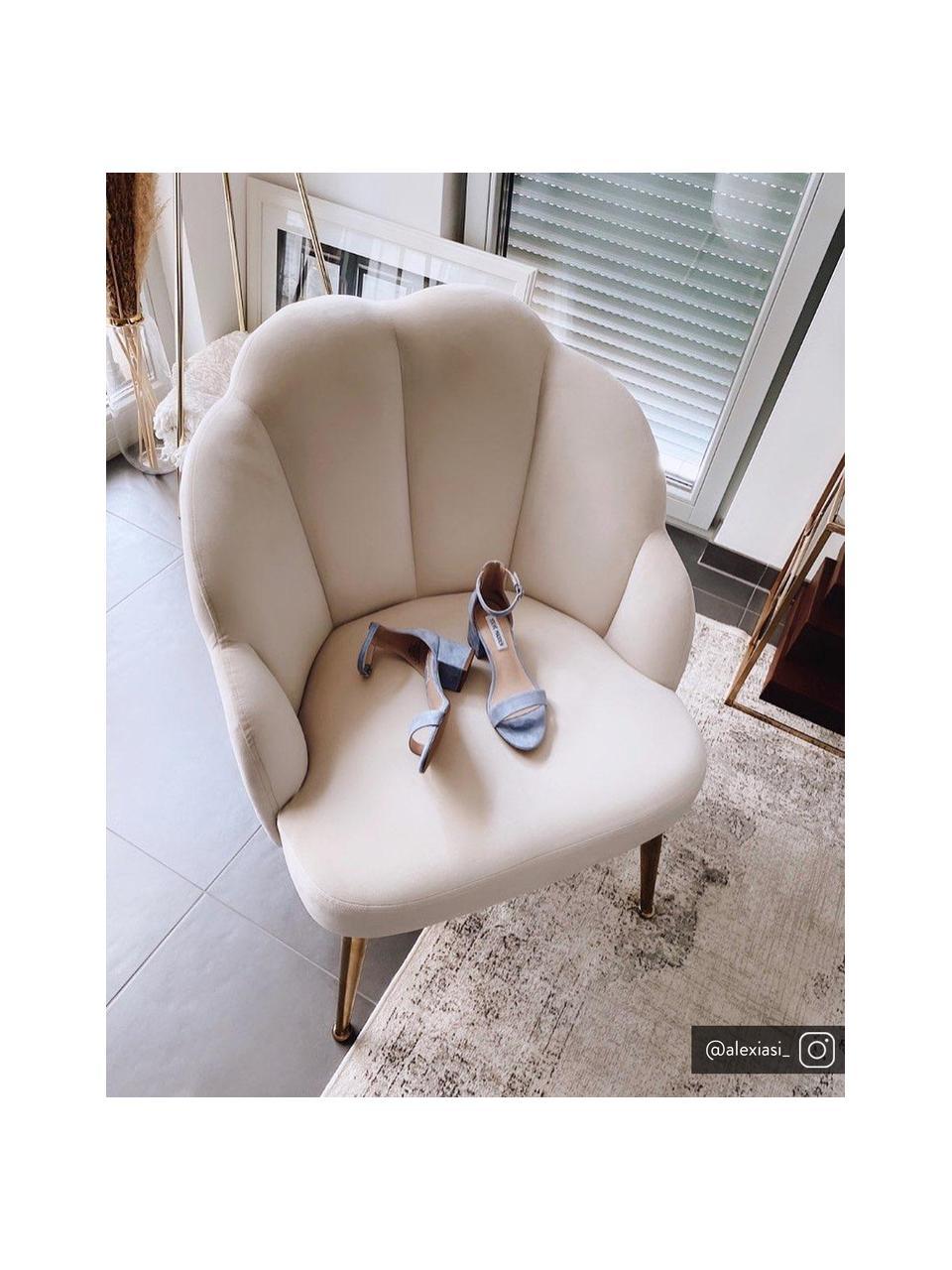 Samt-Cocktailsessel Helle in Cremeweiß, Bezug: Samt (Polyester) Der hoch, Füße: Metall, pulverbeschichtet, Samt Cremeweiß, B 65 x T 65 cm