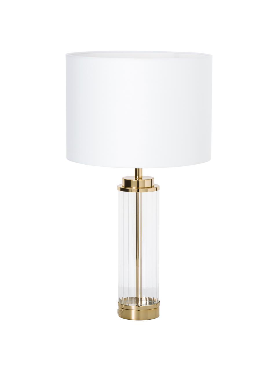 Duża lampa stołowa ze szklaną podstawą Gabor, Klosz: kremowy Podstawa lampy: odcienie złotego, Ø 35 x W 64 cm