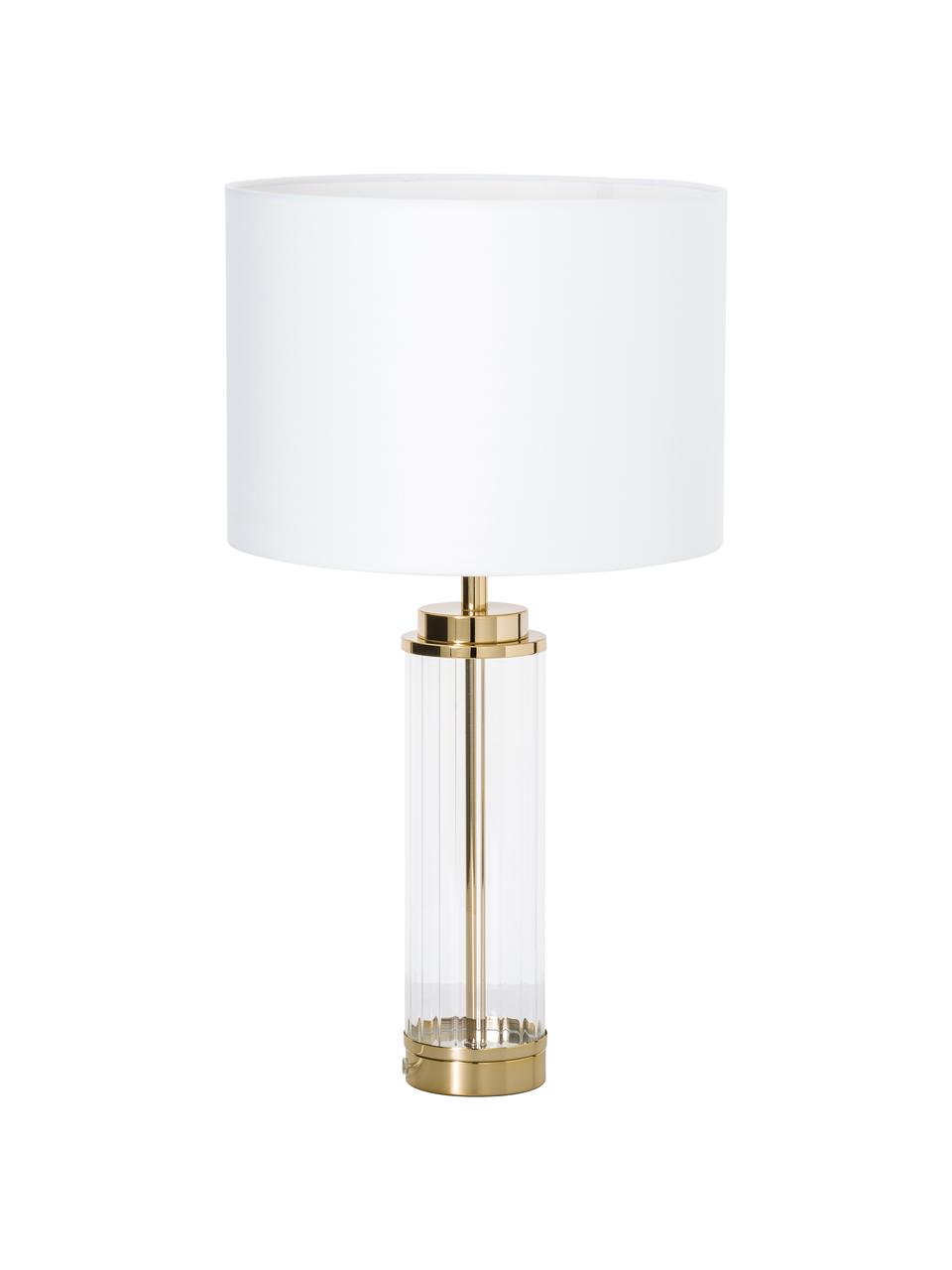 Grande lampe à poser blanc doré Gabor, Abat-jour: crème Pied de lampe: couleur dorée