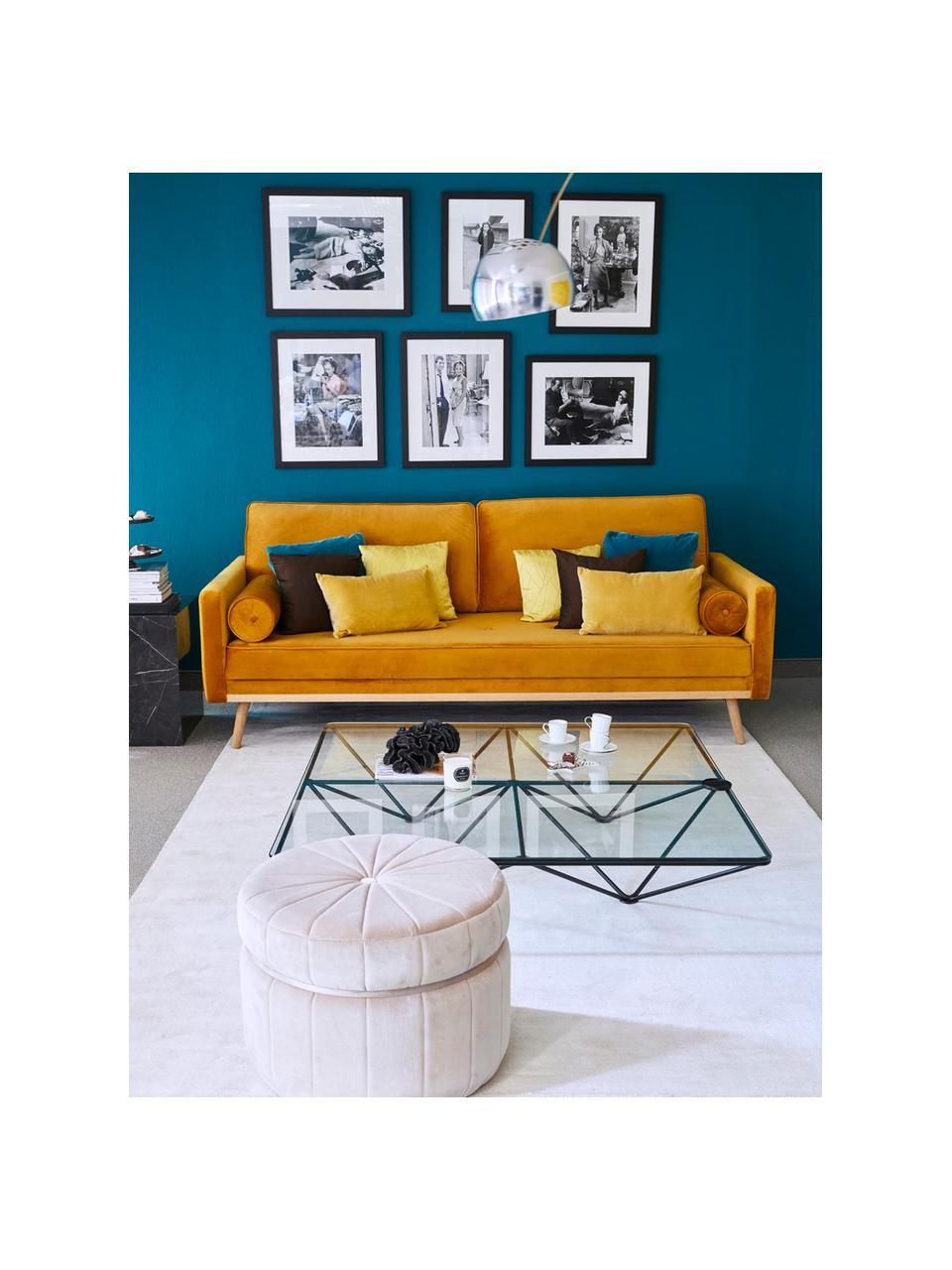 Divano 3 posti in velluto giallo senape Saint, Rivestimento: velluto (poliestere) 35.0, Struttura: legno di quercia massicci, Velluto giallo senape, Larg. 210 x Prof. 93 cm