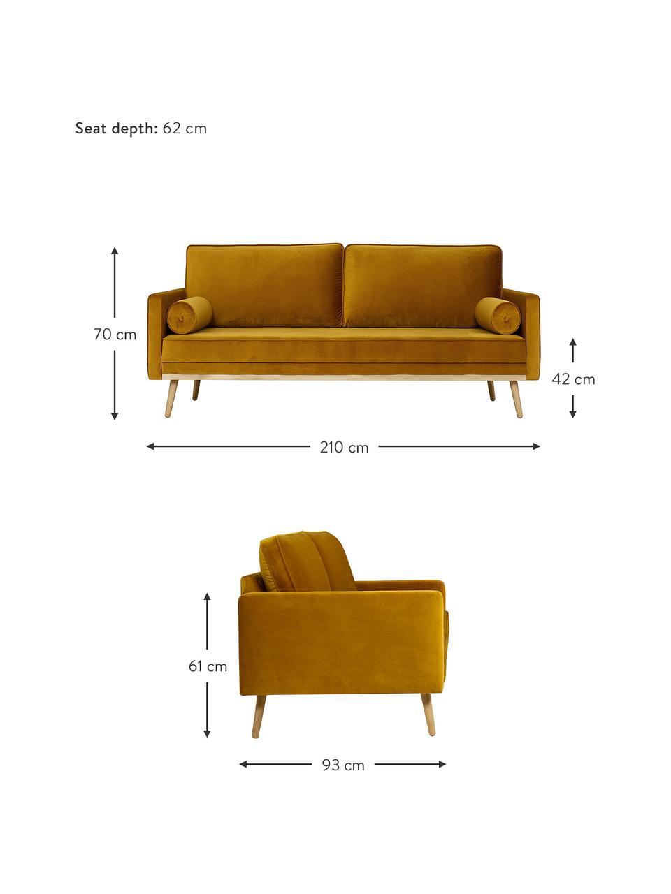 Samt-Sofa Saint (3-Sitzer) in Senfgelb mit Eichenholz-Füßen, Bezug: Samt (Polyester) Der hoch, Gestell: Massives Eichenholz, Span, Samt Senfgelb, B 210 x T 93 cm