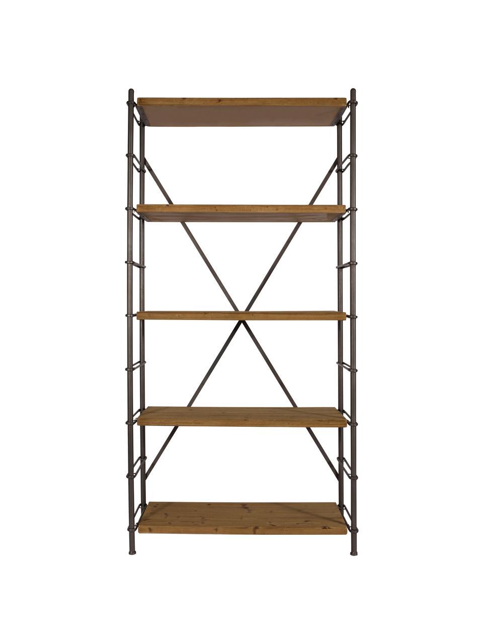 Regał Iron, Stelaż: metal, malowany proszkowo, Drewno świerkowe, czarny, S 100 x W 200 cm