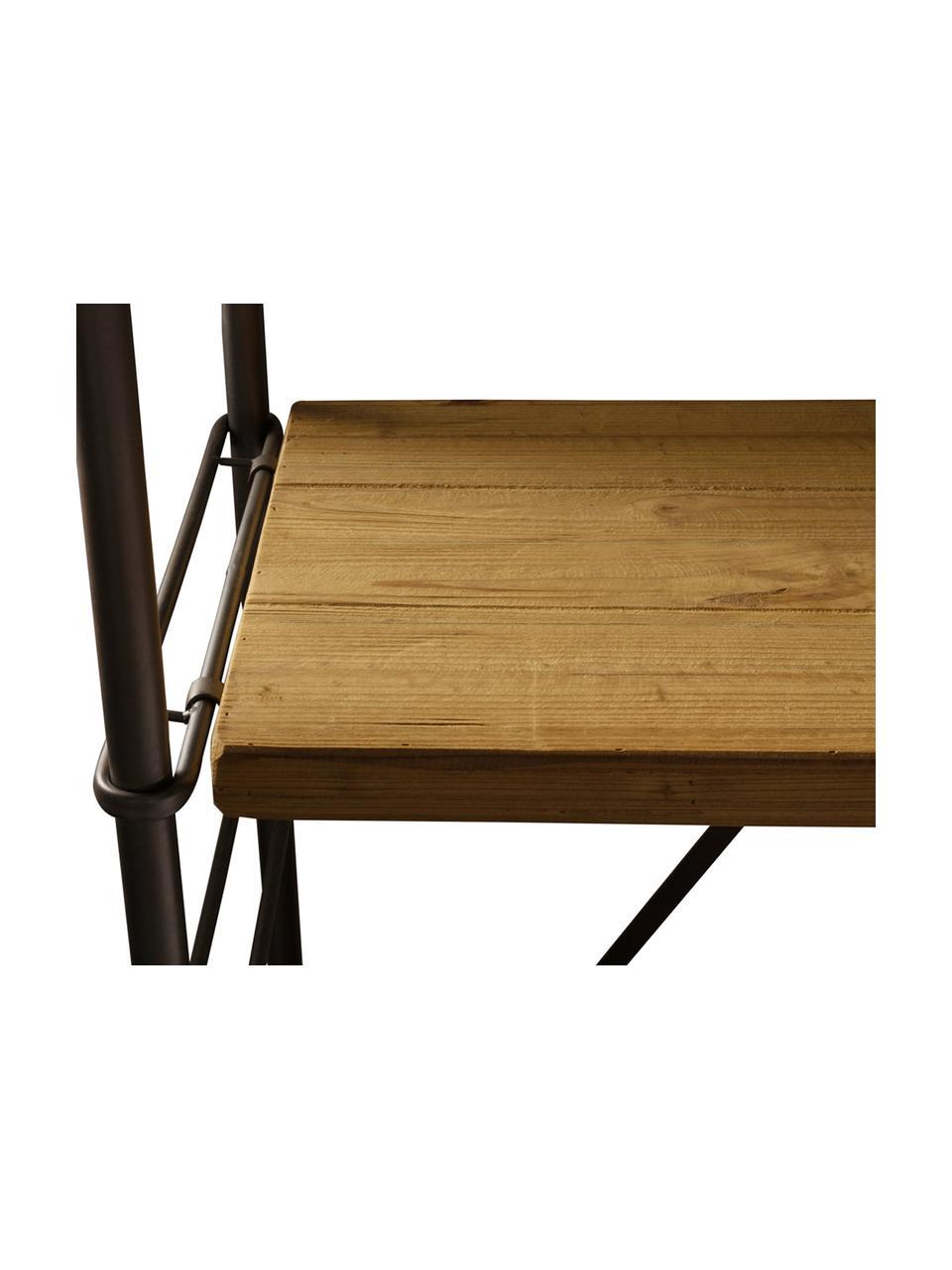 Libreria Iron, Struttura: metallo verniciato a polv, Ripiani: legno di abete rosso, mas, Legno di abate rosso, nero, Larg. 100 x Alt. 200 cm