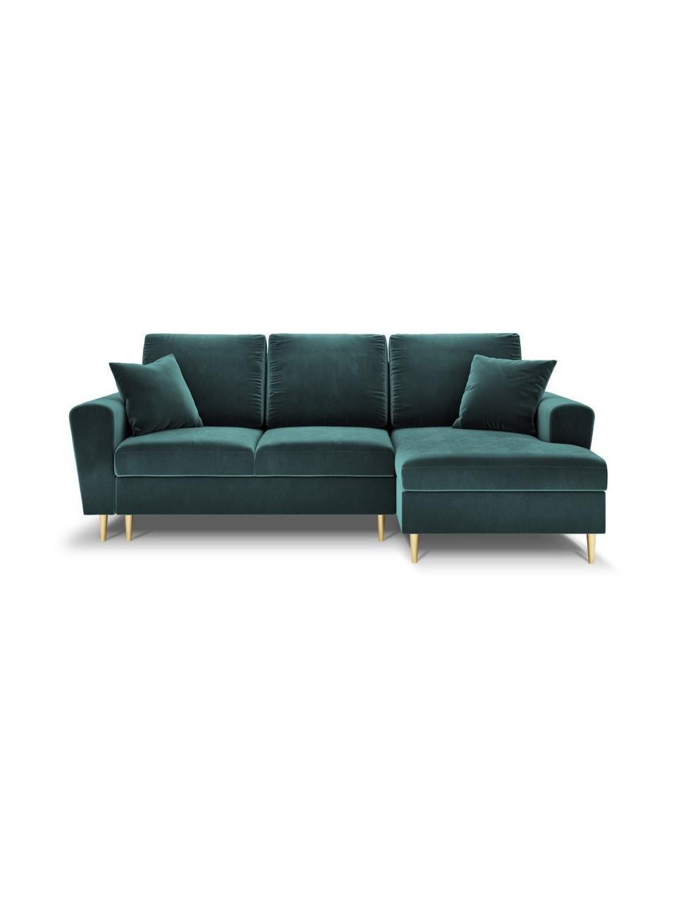 Sofa narożna z aksamitu z funkcją spania i miejscem do przechowywania Moghan (4-osobowa), Tapicerka: 100% aksamit poliestrowy , Nogi: metal powlekany, Petrol, S 236 x G 145 cm