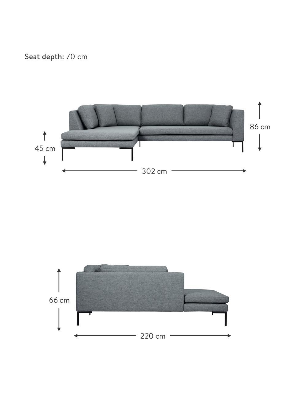 Canapé d'angle gris Emma, Tissu gris, pieds noirs