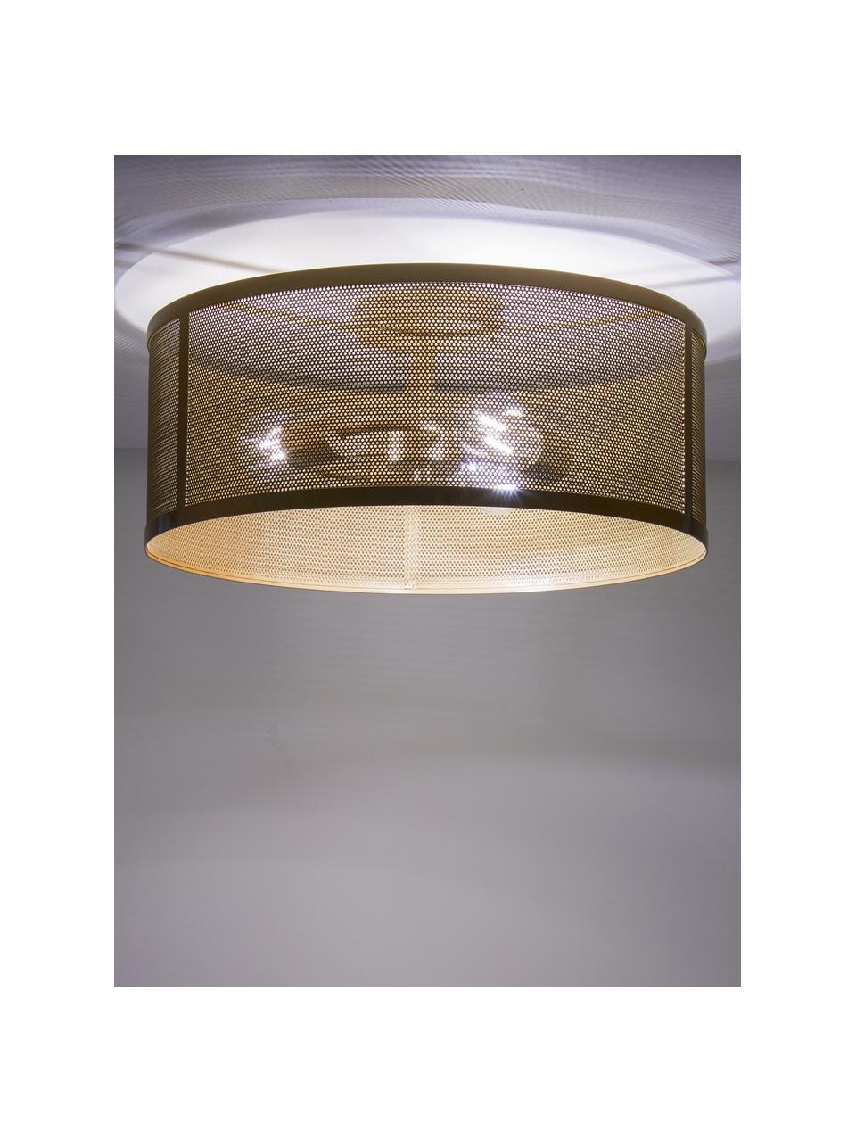 Plafoniera dorata Fishnet, Paralume: metallo rivestito, Baldacchino: metallo rivestito, Dorato, Ø 45 x Alt. 21 cm
