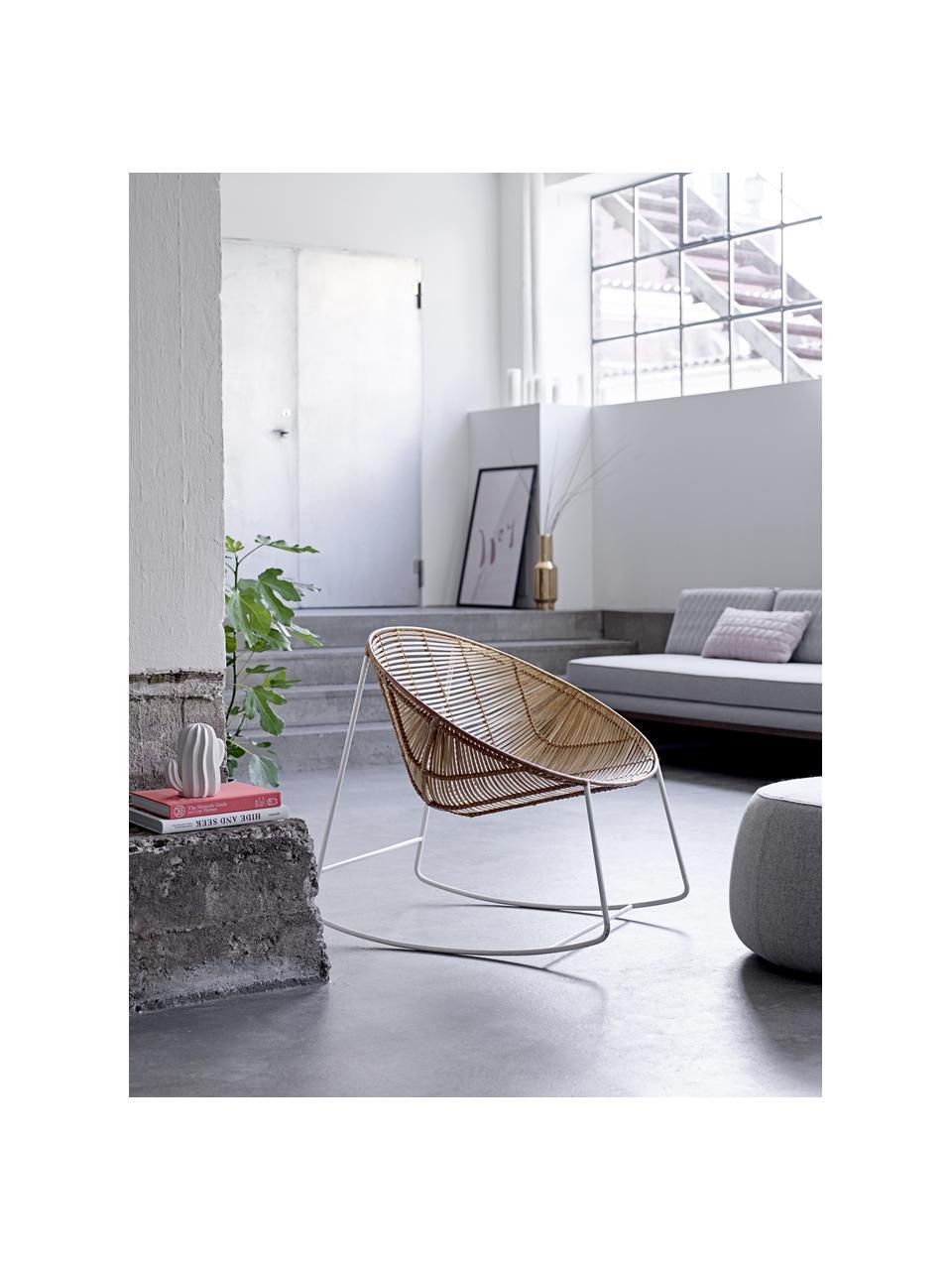 Fotel bujany  z rattanu z metalowym stelażem Orinoco, Siedzisko: rattan Stelaż: biały, S 92 x W 76 cm