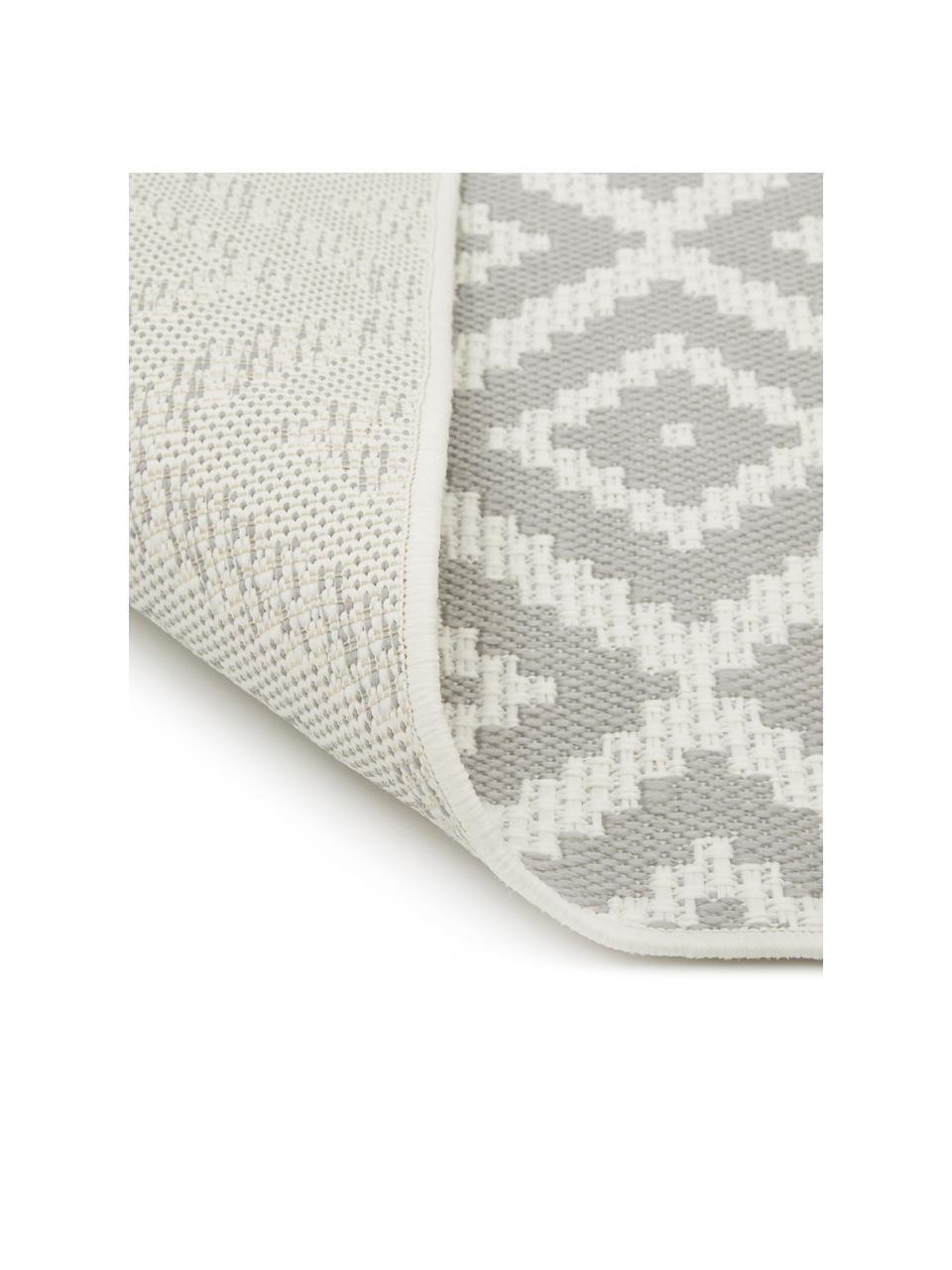 Gemusterter In- & Outdoor-Läufer Miami in Grau/Weiß, 86% Polypropylen, 14% Polyester, Cremeweiß, Grau, 80 x 250 cm