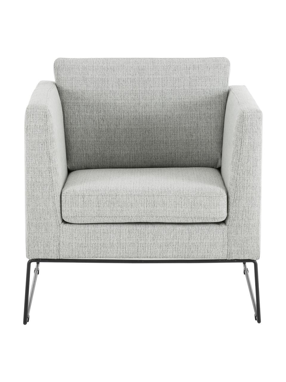 Klassieke fauteuil Milo in grijs met metalen poten, Bekleding: hoogwaardig polyester, Frame: grenenhout, Poten: gelakt metaal, Geweven stof grijs, B 77 x D 75 cm