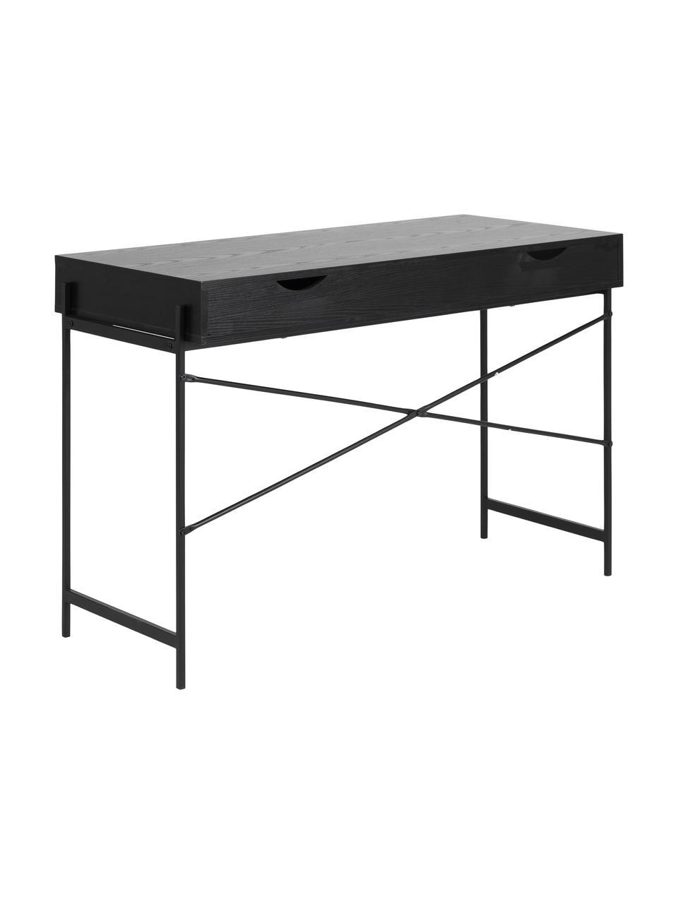Schreibtisch Angus in Schwarz mit Stauraum, Tischplatte: Mitteldichte Holzfaserpla, Gestell: Metall, beschichtet, Schwarz, B 110 x T 50 cm