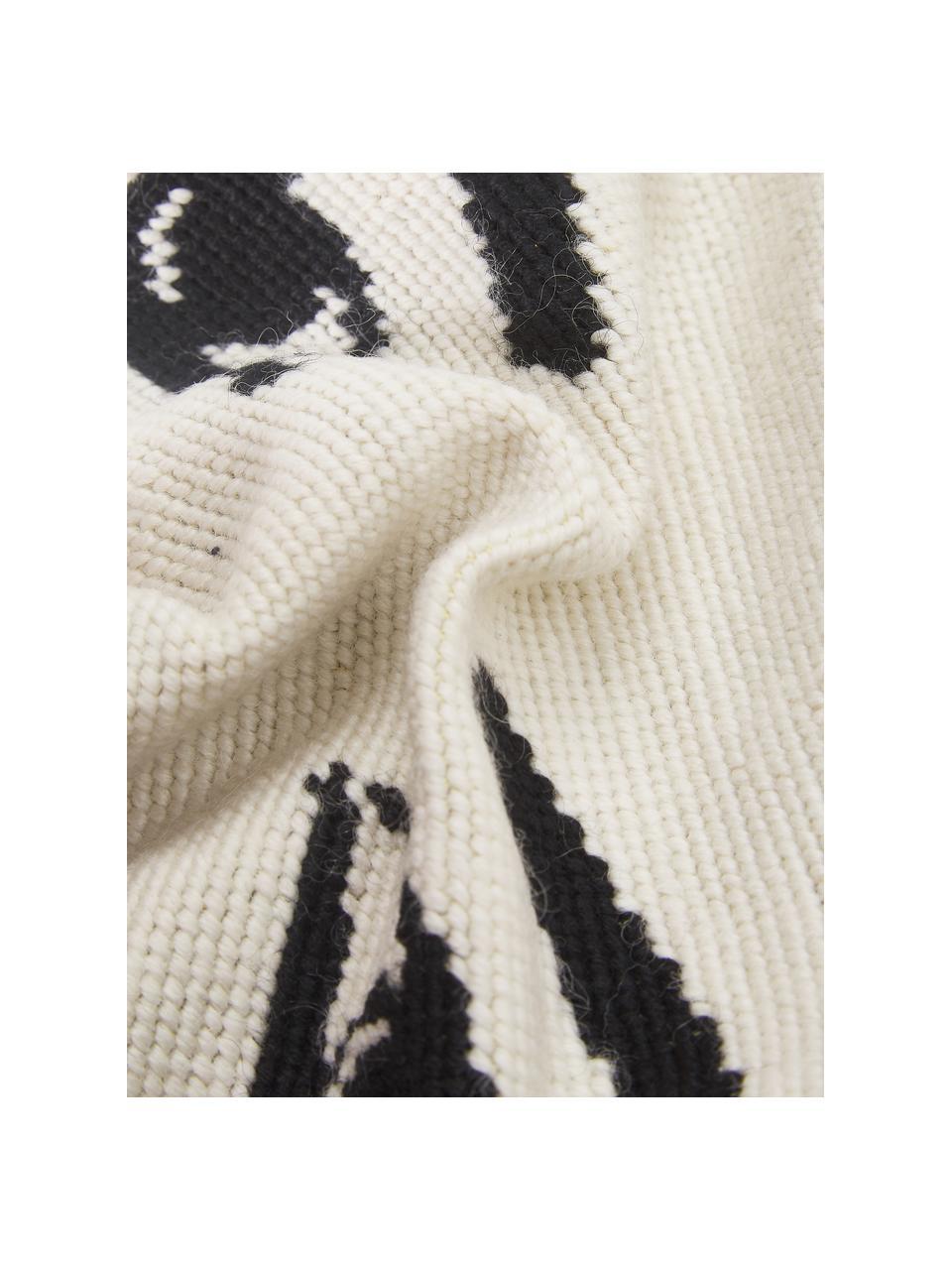 Kleines handbesticktes Designer-Kissen Eyes, mit Inlett, Vorderseite: Wolle, Rückseite: Baumwollsamt, Weiß, Schwarz, 23 x 30 cm