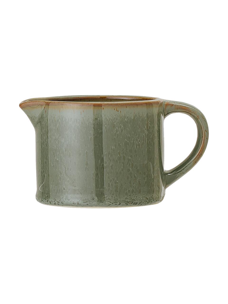 Steingut Milchkännchen Pixie, 275 ml, Steingut, Grün, Brauntöne, Ø 9 x H 7 cm