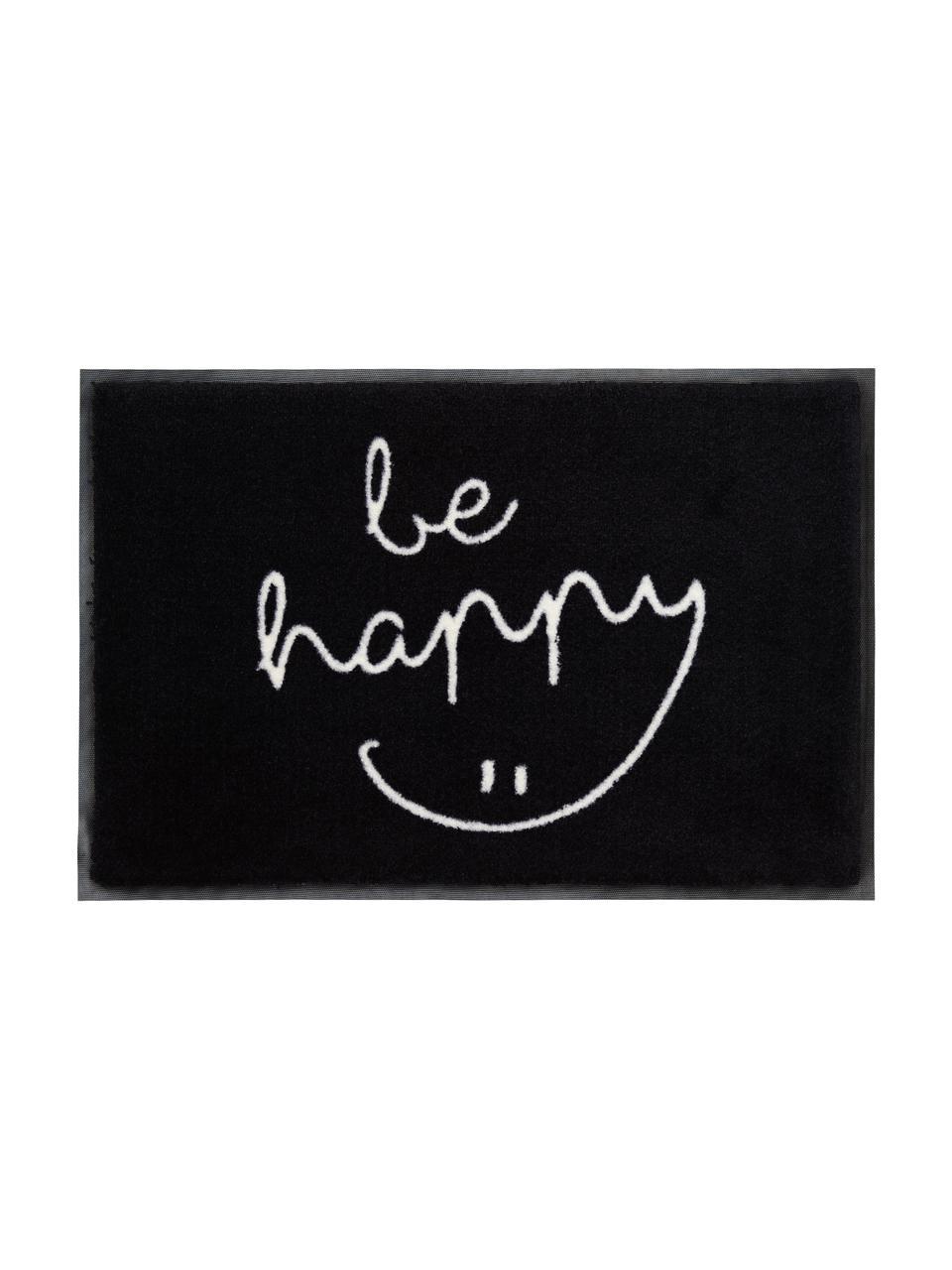 Paillasson lavable Be Happy, Noir, blanc
