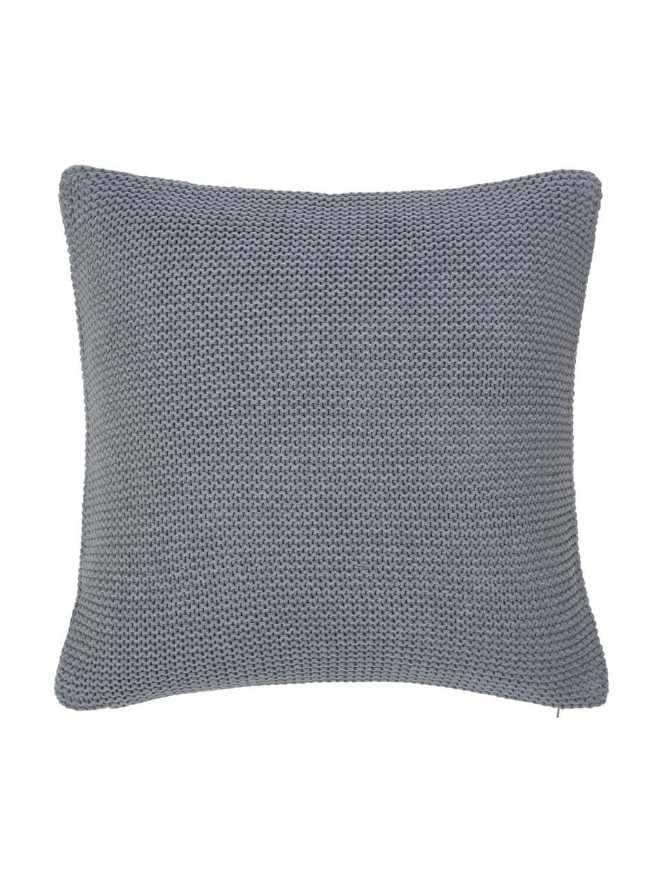 Strick-Kissenhülle Adalyn aus Bio-Baumwolle in Grau, 100% Bio-Baumwolle, GOTS-zertifiziert, Grau, 60 x 60 cm