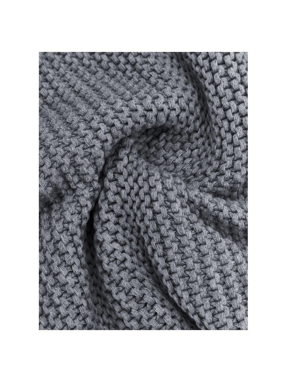 Gebreide kussenhoes Adalyn van biokatoen in grijs, 100% biokatoen, Grijs, 60 x 60 cm