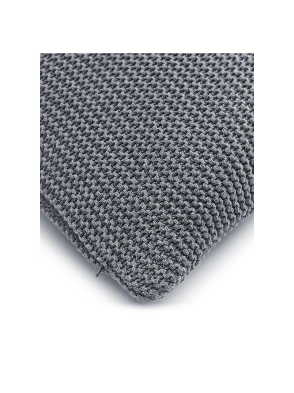 Strick-Kissenhülle Adalyn aus Bio-Baumwolle in Hellgrau, 100% Bio-Baumwolle, GOTS-zertifiziert, Hellgrau, 60 x 60 cm