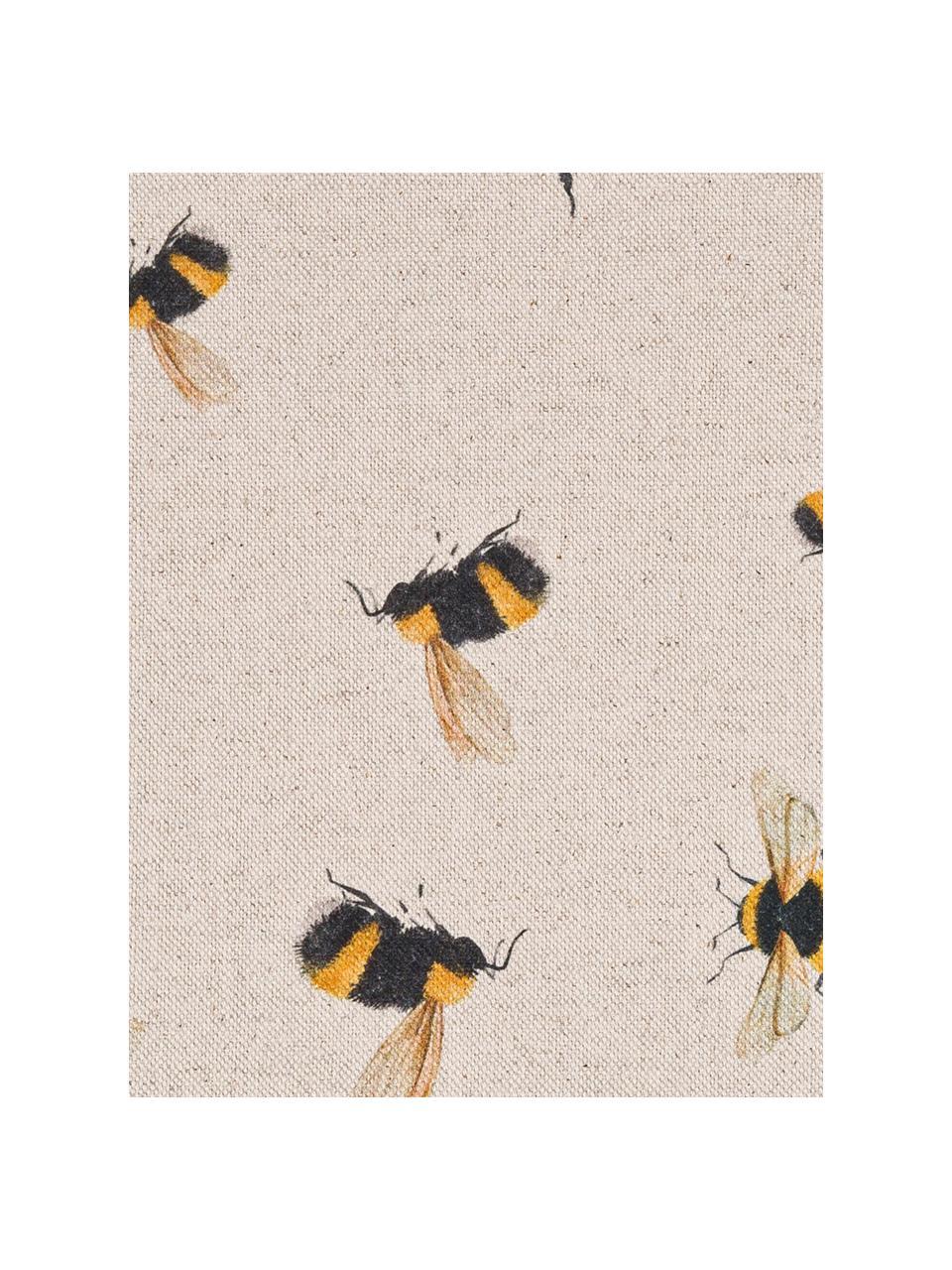 Runner in misto cotone con motivo api Biene, 85% cotone, 15% lino, Beige, giallo, nero, Larg. 40 x Lung. 145 cm