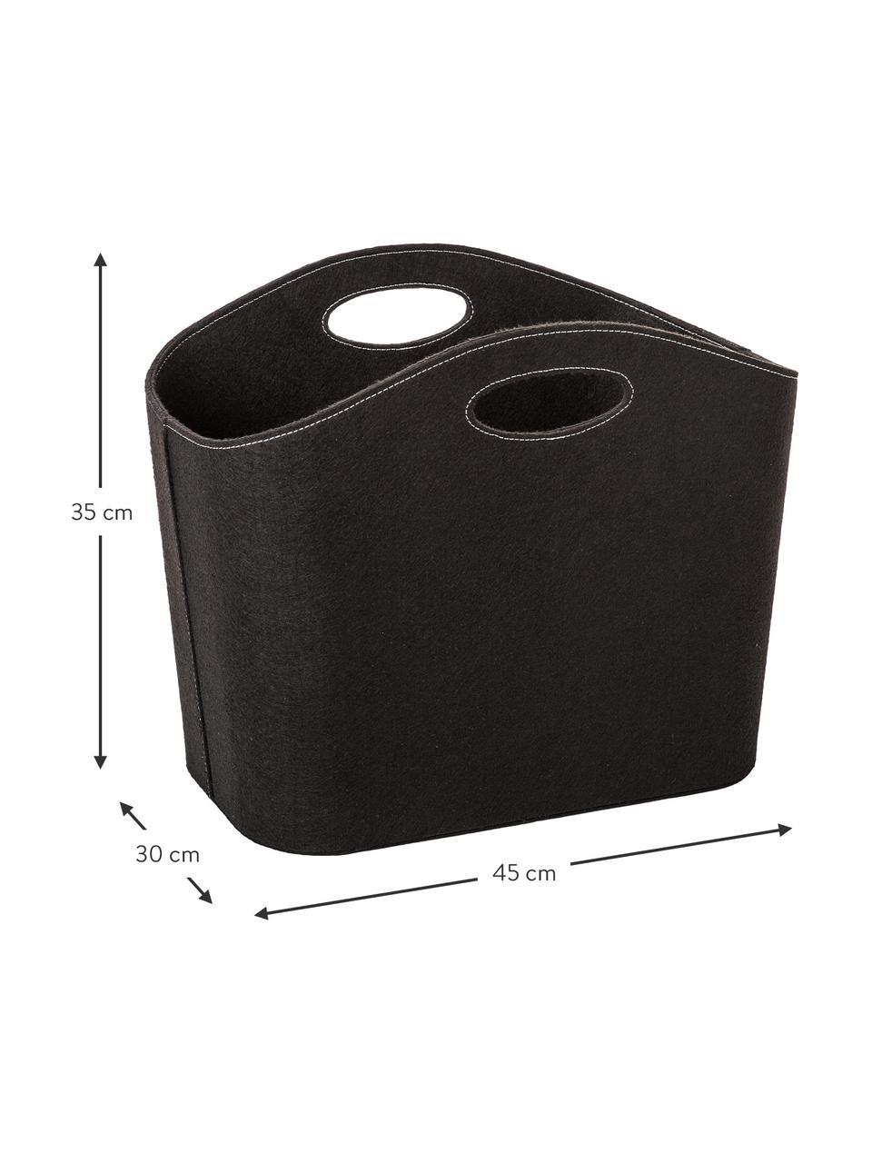 Cesto in feltro Mascha, Feltro in materiale sintetico riciclata, Nero, Lung. 45 x Larg. 30 cm