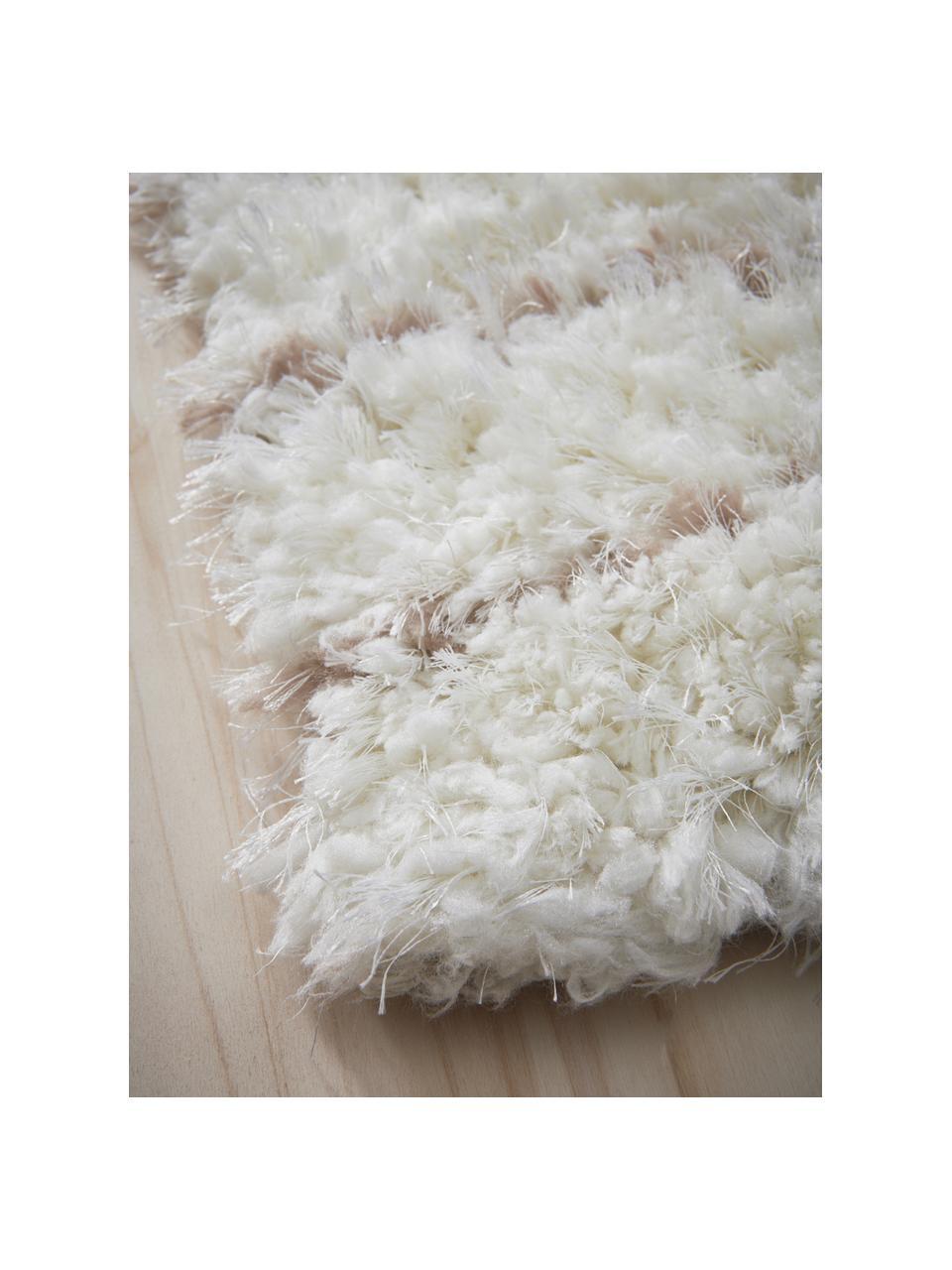 Licht gestreept hoogpolig vloerkleed Porter, 100% polyester, Natuurwit, beige, B 200 x L 290 cm (maat L)