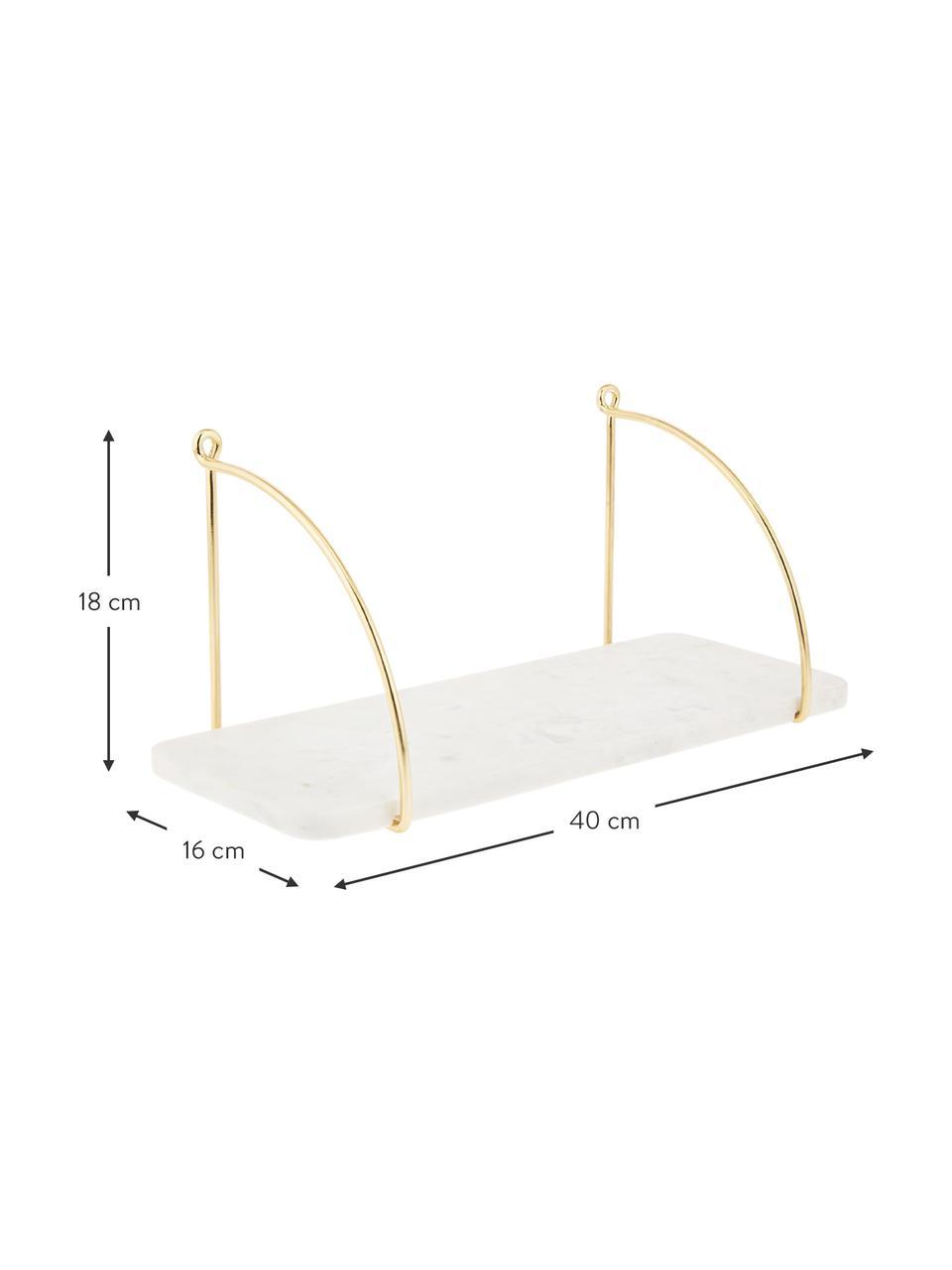 Marmeren wandplank Porter, Plank: marmer, Wandbevestiging: goudkleurig. Plank: gemarmerd wit, 60 x 24 cm