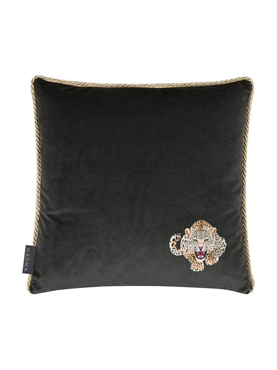 Housse de coussin 40x40 velours passepoil doré Deluxe Leo, Noir, brun, blanc, couleur dorée