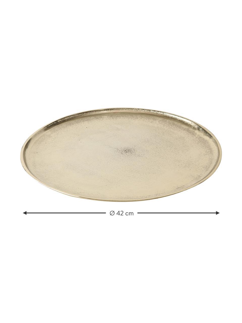 Deko-Tablett Phönix, Aluminium, beschichtet, Messingfarben, Ø 42 cm