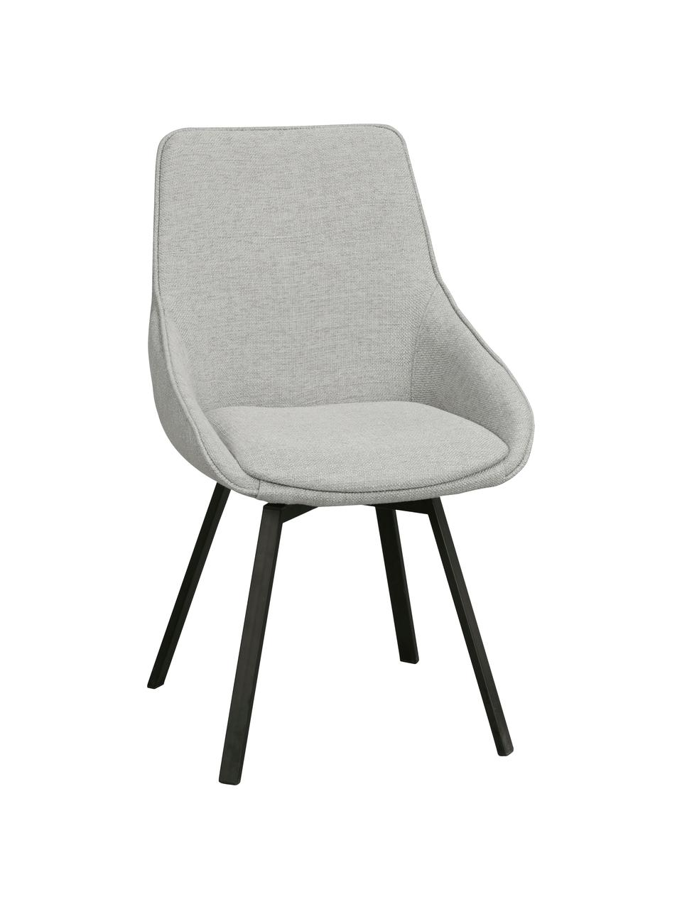 Tapicerowane krzesło obrotowe Alison, Tapicerka: poliester Dzięki tkaninie, Nogi: metal malowany proszkowo, Jasny szary, S 51 x G 57 cm