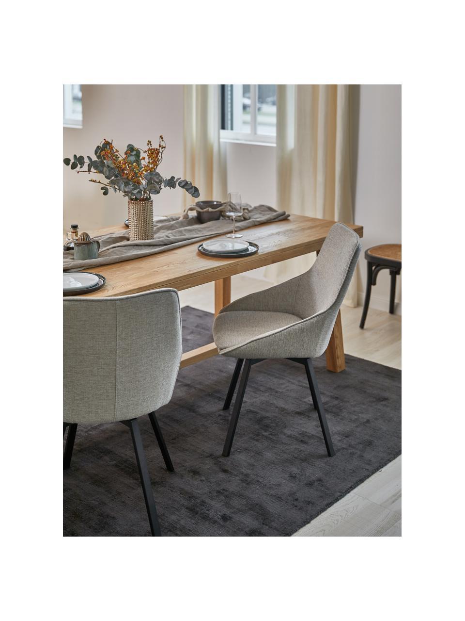 Gepolsteter Drehstuhl Alison, Bezug: Polyester Der hochwertige, Beine: Metall, pulverbeschichtet, Webstoff Hellgrau, B 51 x T 57 cm