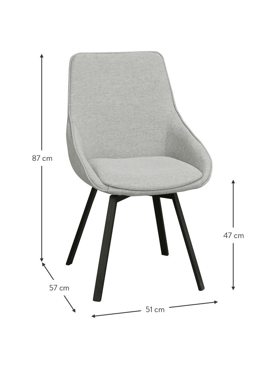 Gestoffeerde bureaustoel Alison, Bekleding: polyester, Poten: gepoedercoat metaal, Geweven stof lichtgrijs, B 51 x D 57 cm