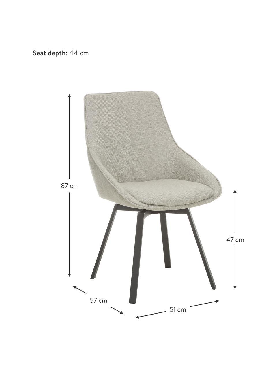 Chaise rembourrée pivotante Alison, Tissu gris clair