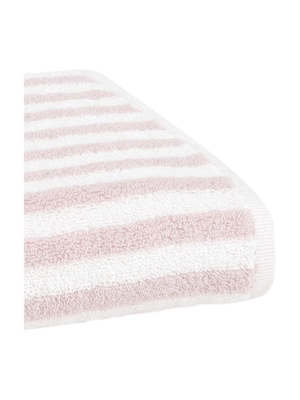 Lot de serviettes de bain à rayures Viola, 3 élém., Rose, blanc crème