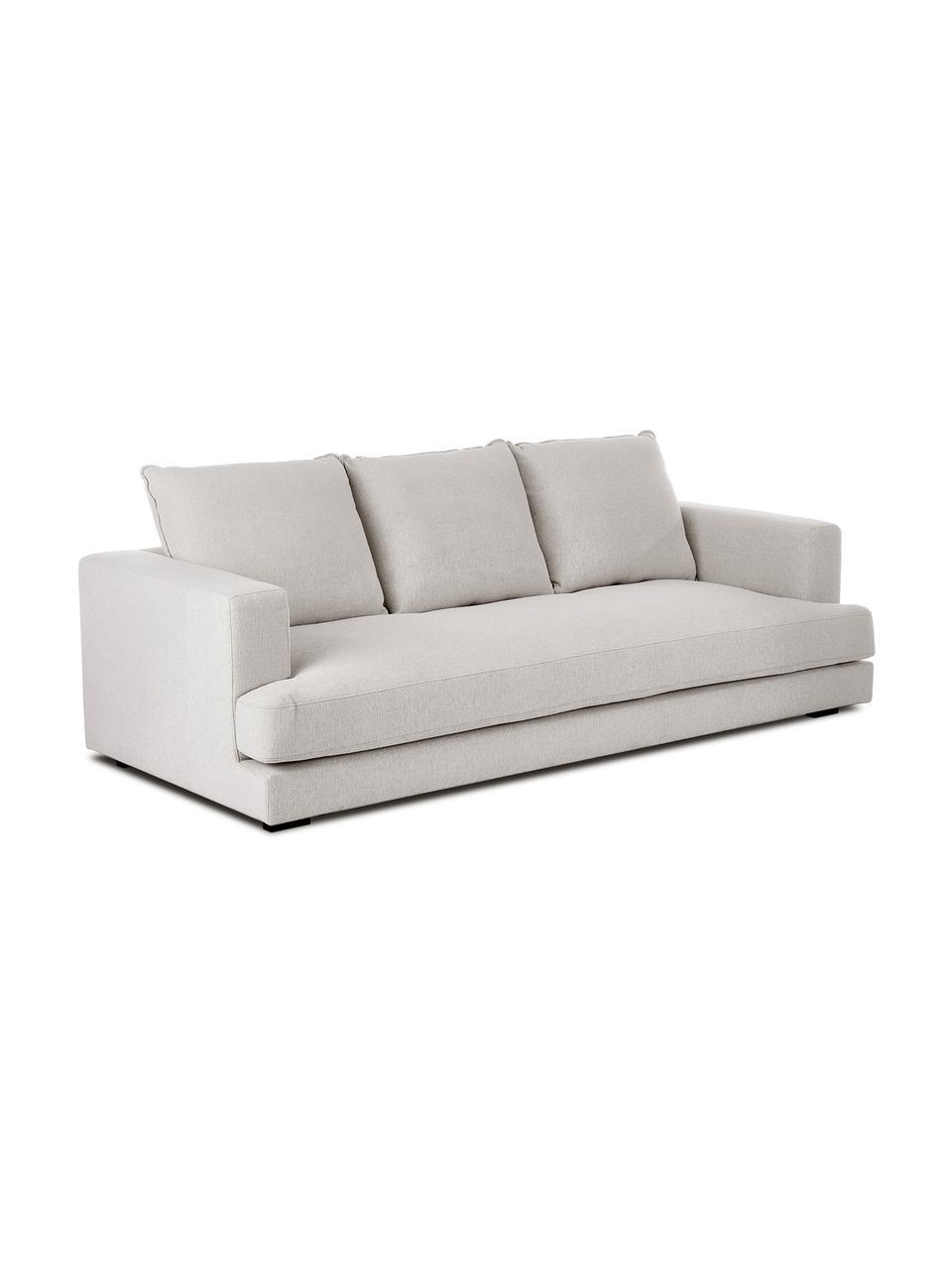 Sofa Tribeca (3-Sitzer) in Beigegrau, Bezug: Polyester Der hochwertige, Gestell: Massives Kiefernholz, Füße: Massives Buchenholz, lack, Webstoff Beigegrau, B 228 x T 104 cm