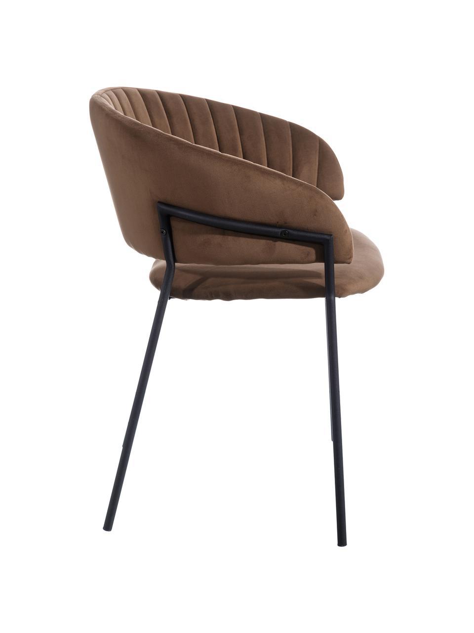 Krzesło tapicerowane z aksamitu Room, Tapicerka: 100% aksamit poliestrowy, Stelaż: metal powlekany, Brązowy, S 53 x G 58 cm