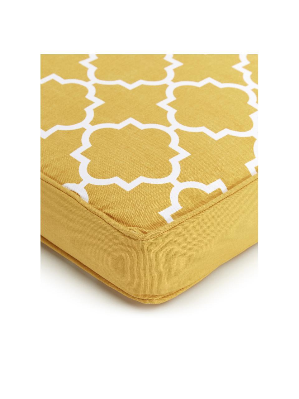 Hohes Sitzkissen Lana in Gelb/Weiß, Bezug: 100% Baumwolle, Gelb, 40 x 40 cm