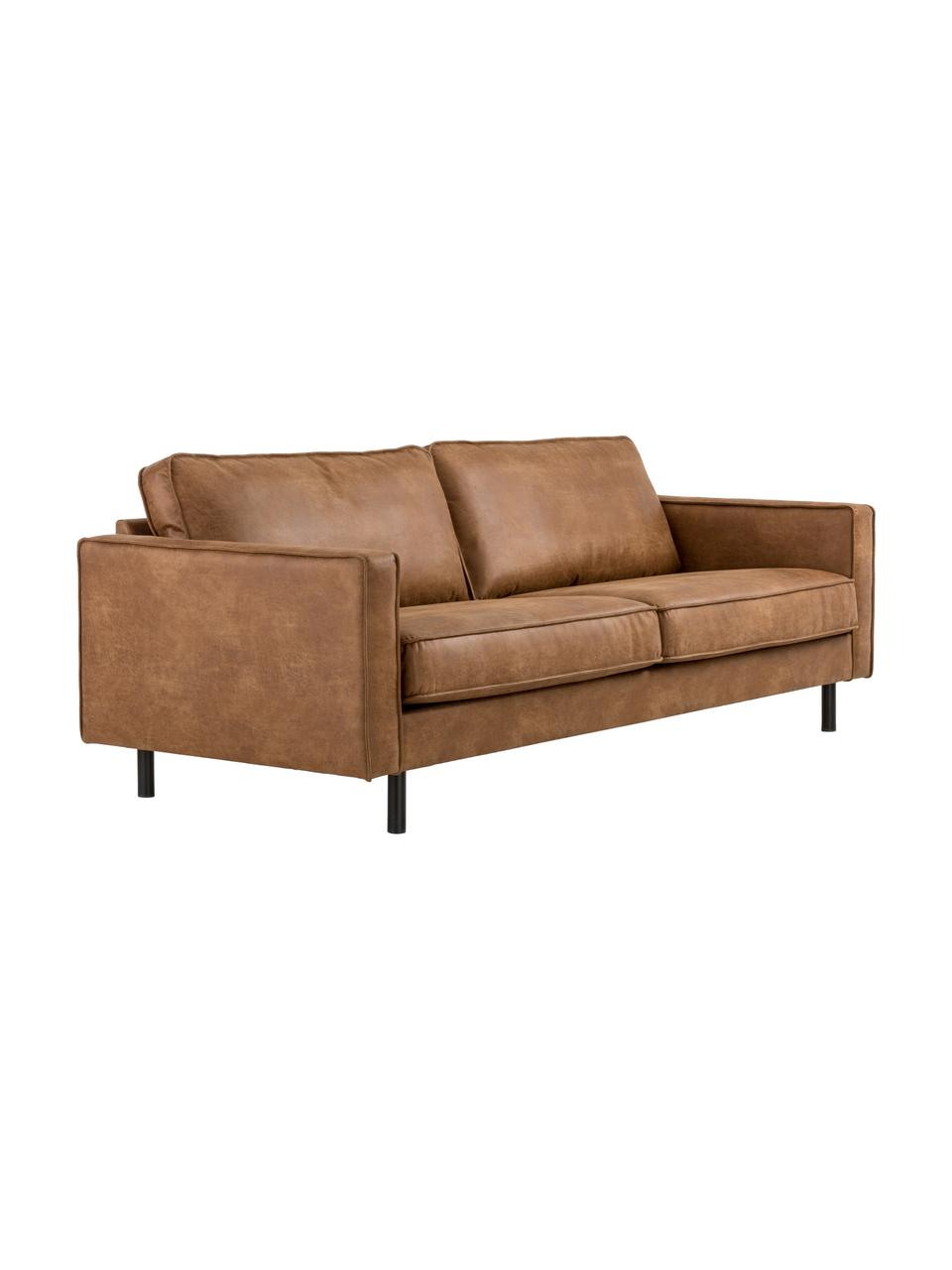 Sofa ze skóry z recyklingu Hunter (3-osobowa), Tapicerka: skóra z recyklingu (70% s, Nogi: tworzywo sztuczne, Brązowy, S 219 x G 90 cm