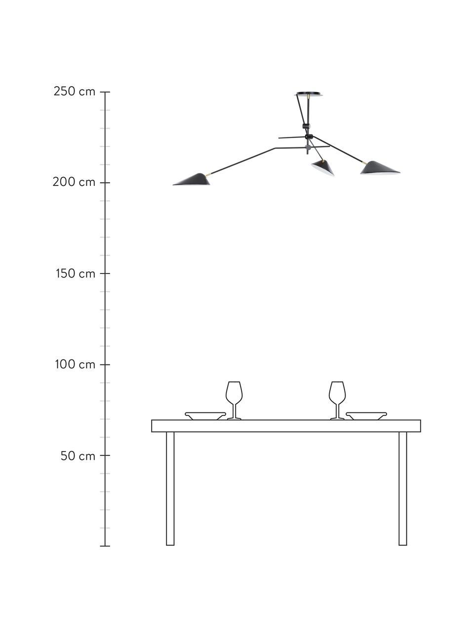 Lampada a sospensione nera Neron, Baldacchino: metallo verniciato a polv, Nero, Larg. 173 x Alt. 52 cm
