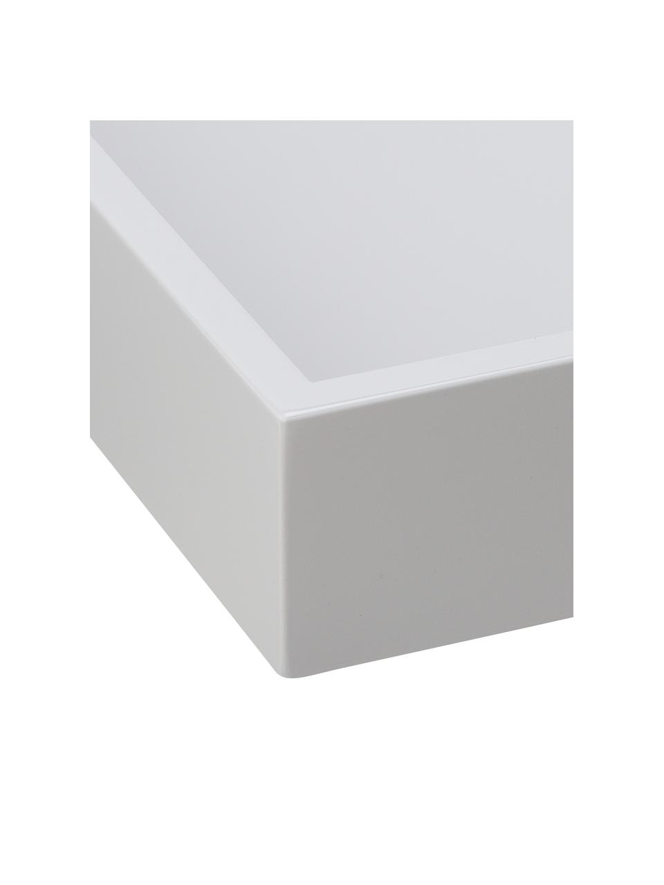 Hochglanz-Tablett Hayley in Grau, L 50 x B 35 cm, Tablett: Mitteldichte Holzfaserpla, Unterseite: Samt, Hellgrau, Unterseite: Hellgrau, 35 x 50 cm