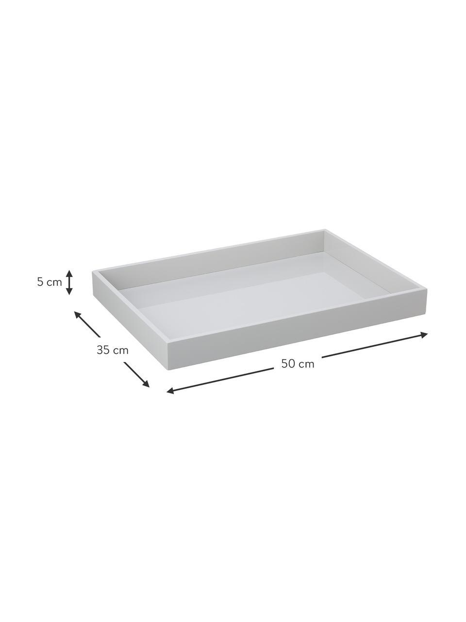Hoogglans dienblad Hayley in grijs, L 50 x B 35 cm, Dienblad: gelakt MDF, Onderzijde: fluweel, Lichtgrijs. Onderzijde: lichtgrijs, 35 x 50 cm