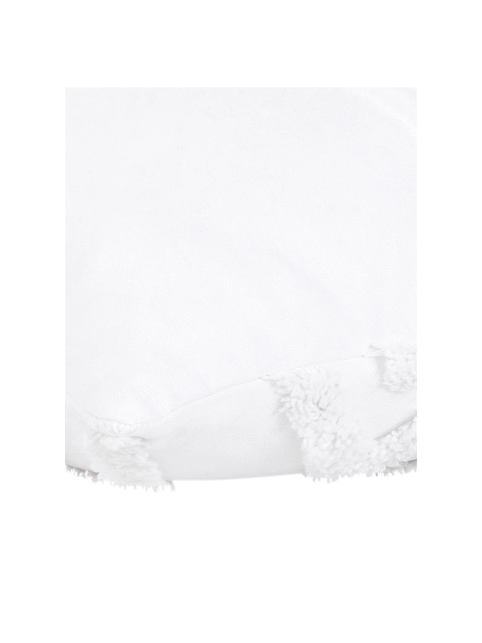 Kissenhülle Faye in Weiß mit getuftetem Muster, Webart: Panama, Weiß, 40 x 60 cm